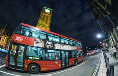 london - sep 28:classic routemaster double decker bus speeds up in westminste - stock photo