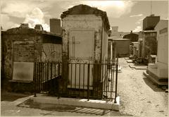 Sepia Toned Cemetery Tombs Above Ground Graves in New Orleans Stock Photos