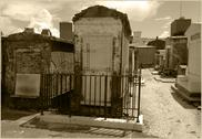 Stock Photo of Sepia Toned Cemetery Tombs Above Ground Graves in New Orleans