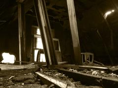Spooky Abandoned Wooden House Ruins Decay Horror Stock Photos