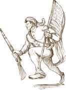 american revolutionary carrying flag - stock illustration