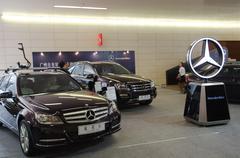 Mercedes benz car on display Stock Photos