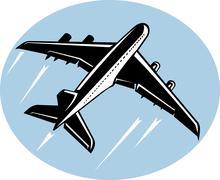 jumbo jet airliner taking off - stock illustration