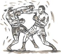 Stock Illustration of drawing of two boxers punching