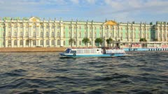 Hermitage on Neva river in St. Petersburg Russia - shooting from boat Stock Footage