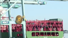 Gantry Crane Offloads Container Ship Stock Footage