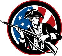 American revolutionary soldier with rifle and flag Stock Illustration