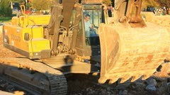 Hydraulic excavator. Close-up Stock Footage