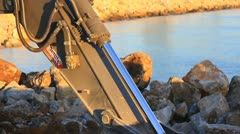 Hydraulic piston of the reach boom Stock Footage
