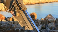 Stock Video Footage of Hydraulic piston of the reach boom