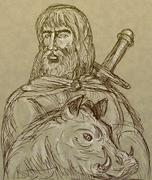 Norse god of agriculture with sword and boar Stock Illustration