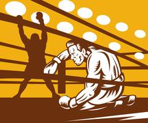 Boxer down on his hunches after a knockout Stock Illustration