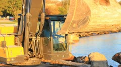 Ladle of the hydraulic excavator Stock Footage