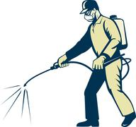 Pest control exterminator spraying side view Stock Illustration