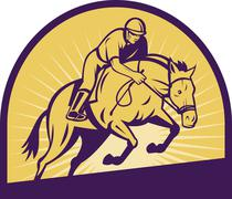 Stock Illustration of equestrian show jumping with horse