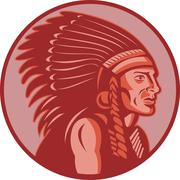 native american indian chief side view - stock illustration