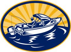 Fisherman with fishing rod on boat Stock Illustration