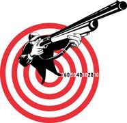 Hunter aiming rifle shotgun bulls eye high angle Stock Illustration