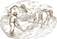 Farmer and horse plowing the field with barn farmhouse Stock Illustration