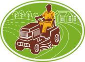 Male gardener riding lawn mower Stock Illustration