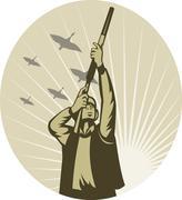 Ankka metsästäjä, jonka tavoitteena kivääri haulikko Piirros