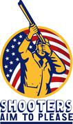 American hunter aiming shotgun rifle flag Stock Illustration