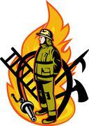 Fireman firefighter axe ladder spear hook hose Stock Illustration