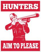 Metsästäjä, jonka tavoitteena haulikko kivääri edestä Piirros
