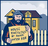 homeless man or hobo sign foreclosed house - stock illustration
