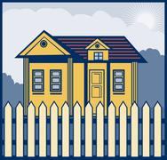 Stock Illustration of house with picket fence