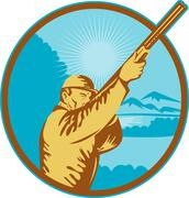 Stock Illustration of hunter with shotgun  rifle and mountains