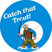 fly fisherman fishing catching trout fish rod reel - stock illustration