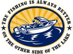 Fisherman fishing boat rod reel Stock Illustration