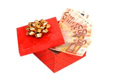 money in gift box. - stock photo