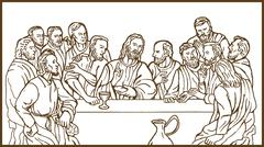 last supper jesus christ savior disciples apostles - stock illustration
