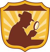 Detective inspector with magnifying glass Stock Illustration