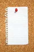 blank page from a notebook attached to a cork noticeboard. - stock photo