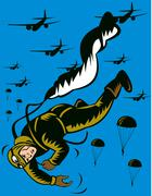 world war two soldier parachuting pulling cord - stock illustration