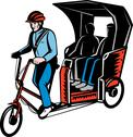 Cycle rickshaw with driver and passenger Stock Illustration