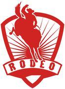 Rodeo cowboy katkonnan bronco Piirros