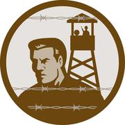 prisoner of war in a concentration camp with guard tower - stock illustration