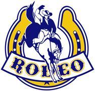 Rodeo cowboy katkonnan bronco hevosenkengän Piirros