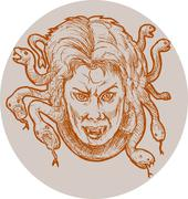 medusa greek methology snakes as hair - stock illustration