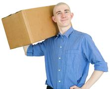 Courier with cardboard box Stock Photos