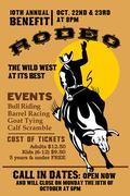 Amerikkalainen rodeo cowboy ratsastaa sonni Piirros