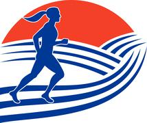 Female marathon runner running side Stock Illustration