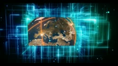 Animated videos of earth and international community on digital background Stock Footage