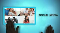Black animated hands moving social media videos and text - stock footage