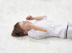 children's yoga. yoga before bedtime - stock photo
