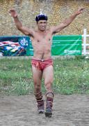 Mongolian wrestler winner Stock Photos